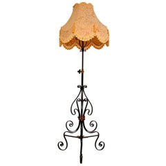 Antique Wrought Iron & Copper Rise & Fall Floor Lamp