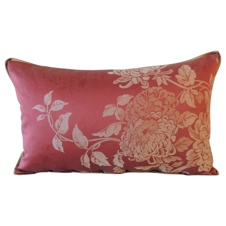 Red Satin Cotton Modern Lumbar Decorative Pillow