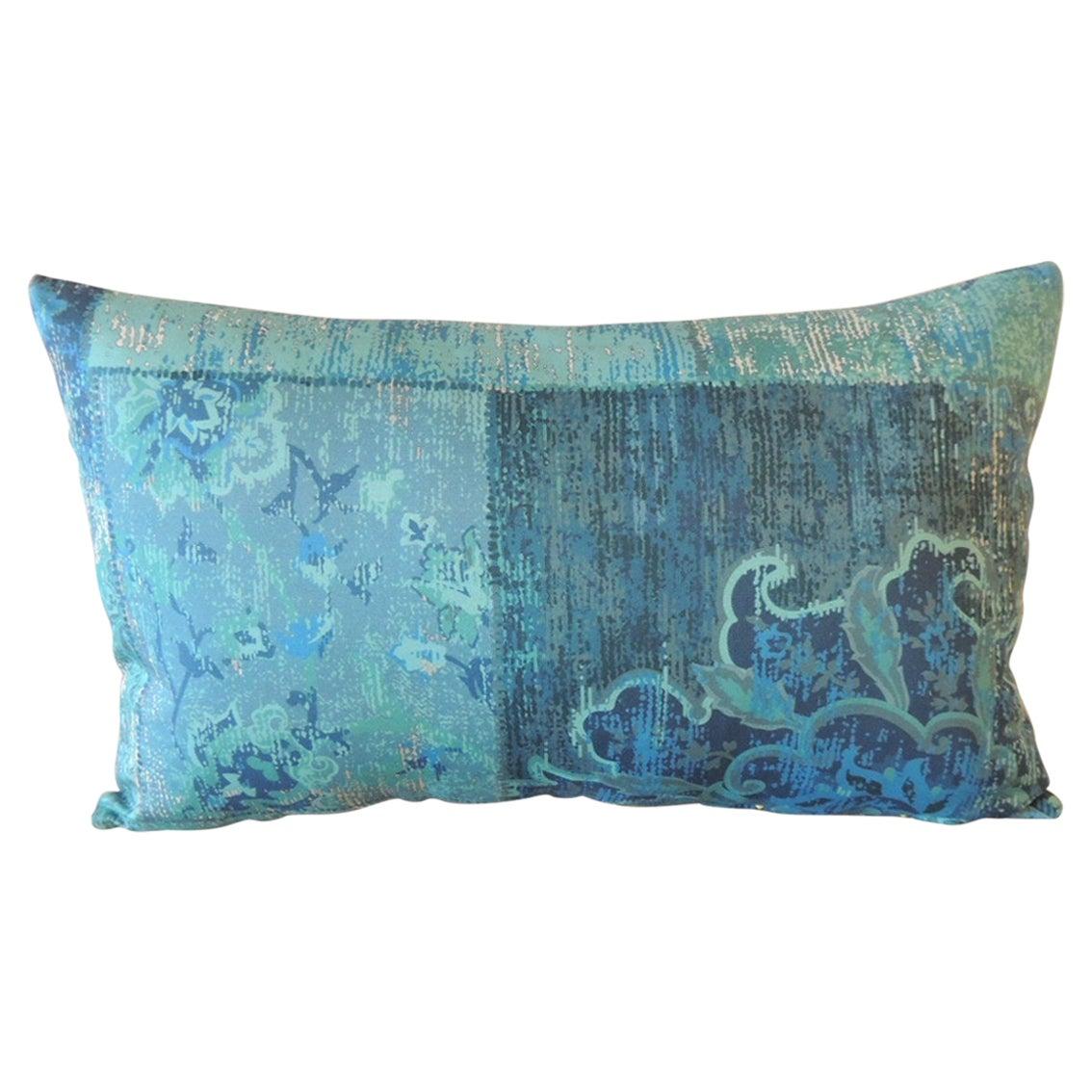 Aqua and Blue Satin Cotton Modern Lumbar Decorative Pillow
