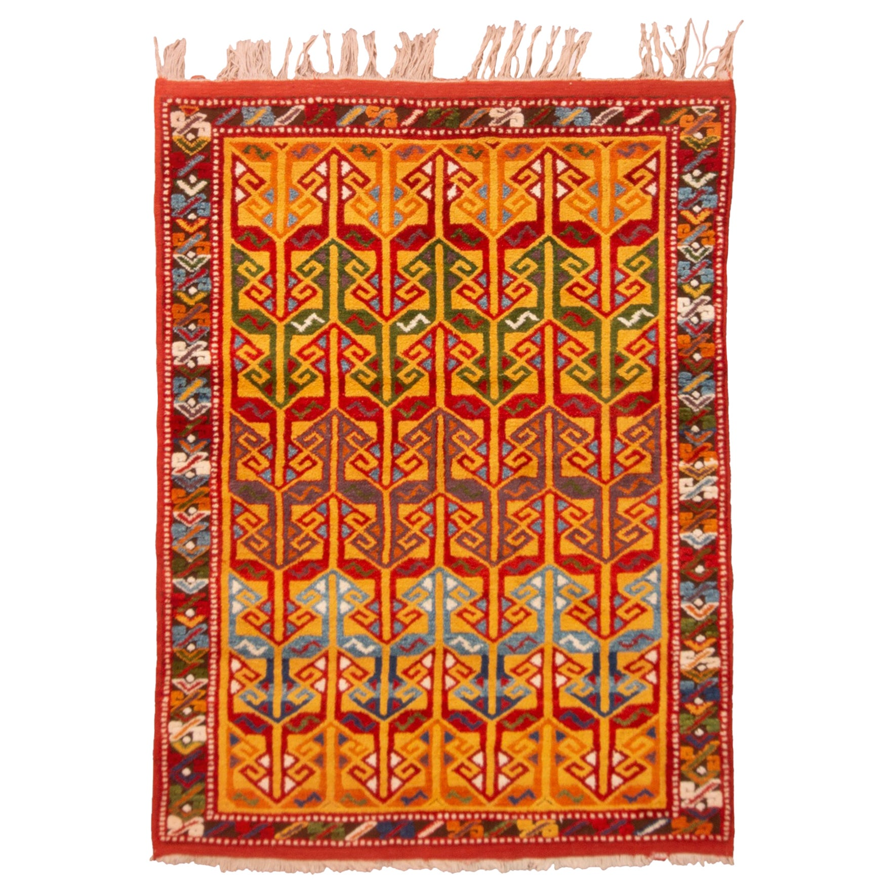Modern Transitional Red and Golden-Yellow Wool Rug
