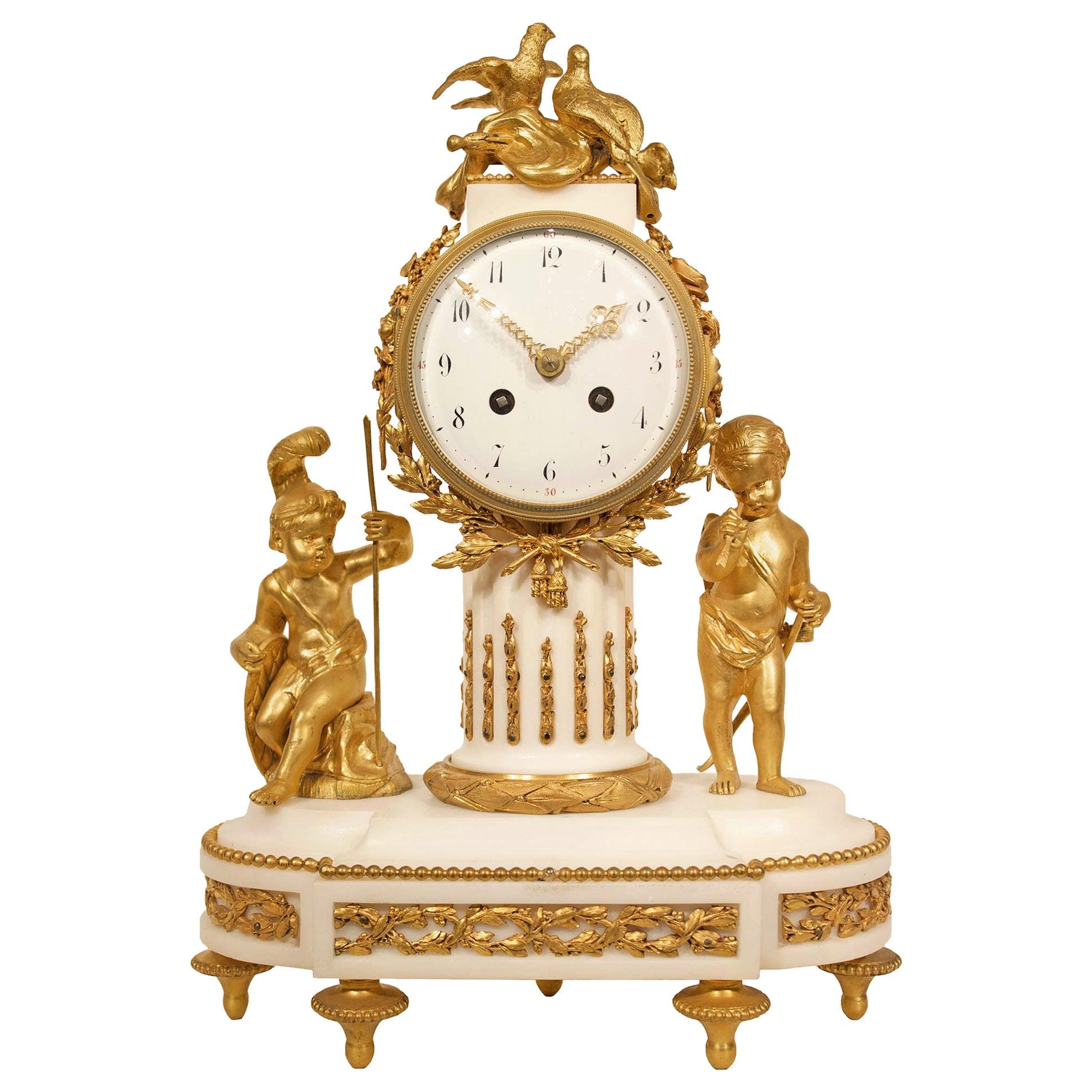 French 19th Century Louis XVI Style White Carrara Marble Clock
