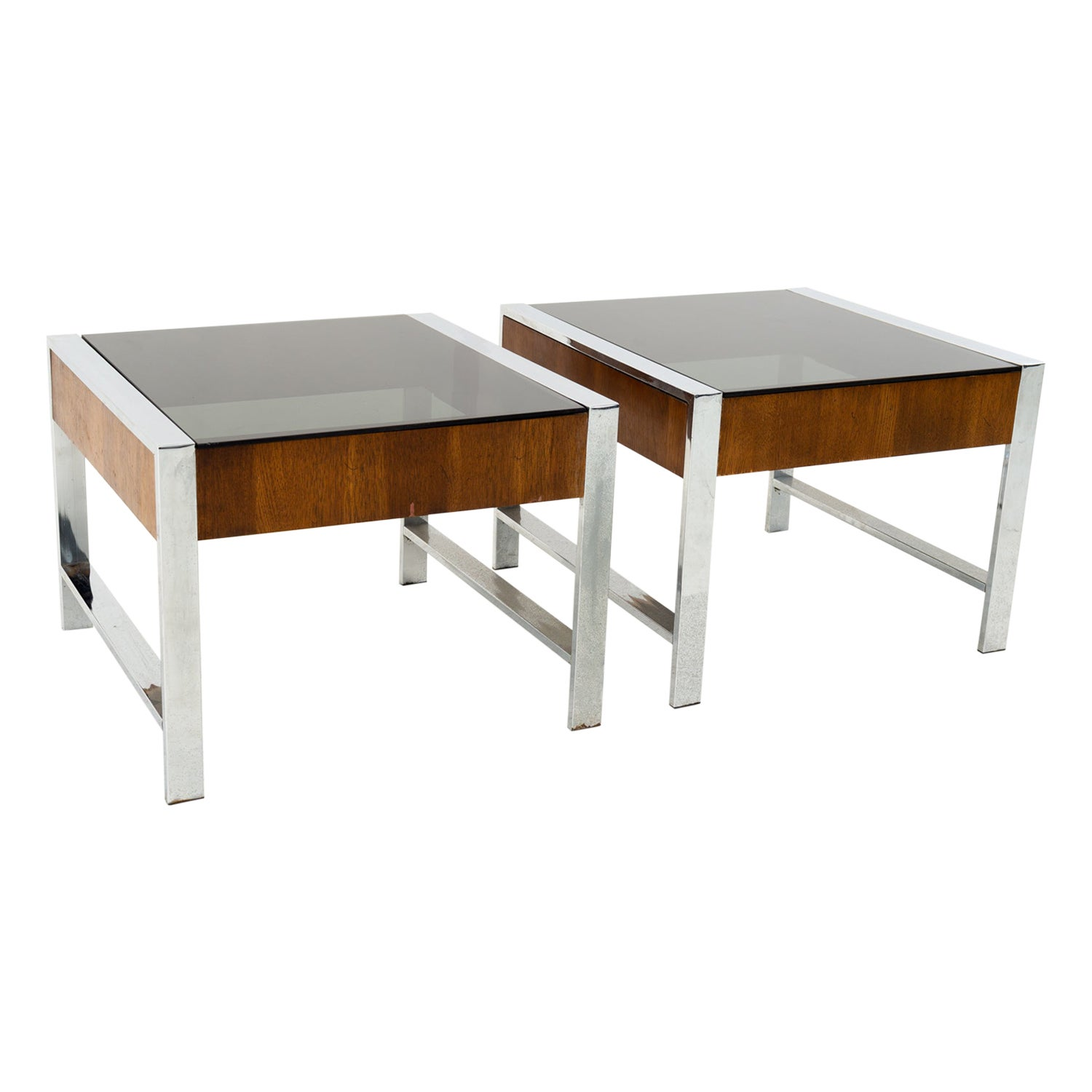 Milo Baughman Style Mid Century Chrome and Smoked Glass Side End Tables, Pair