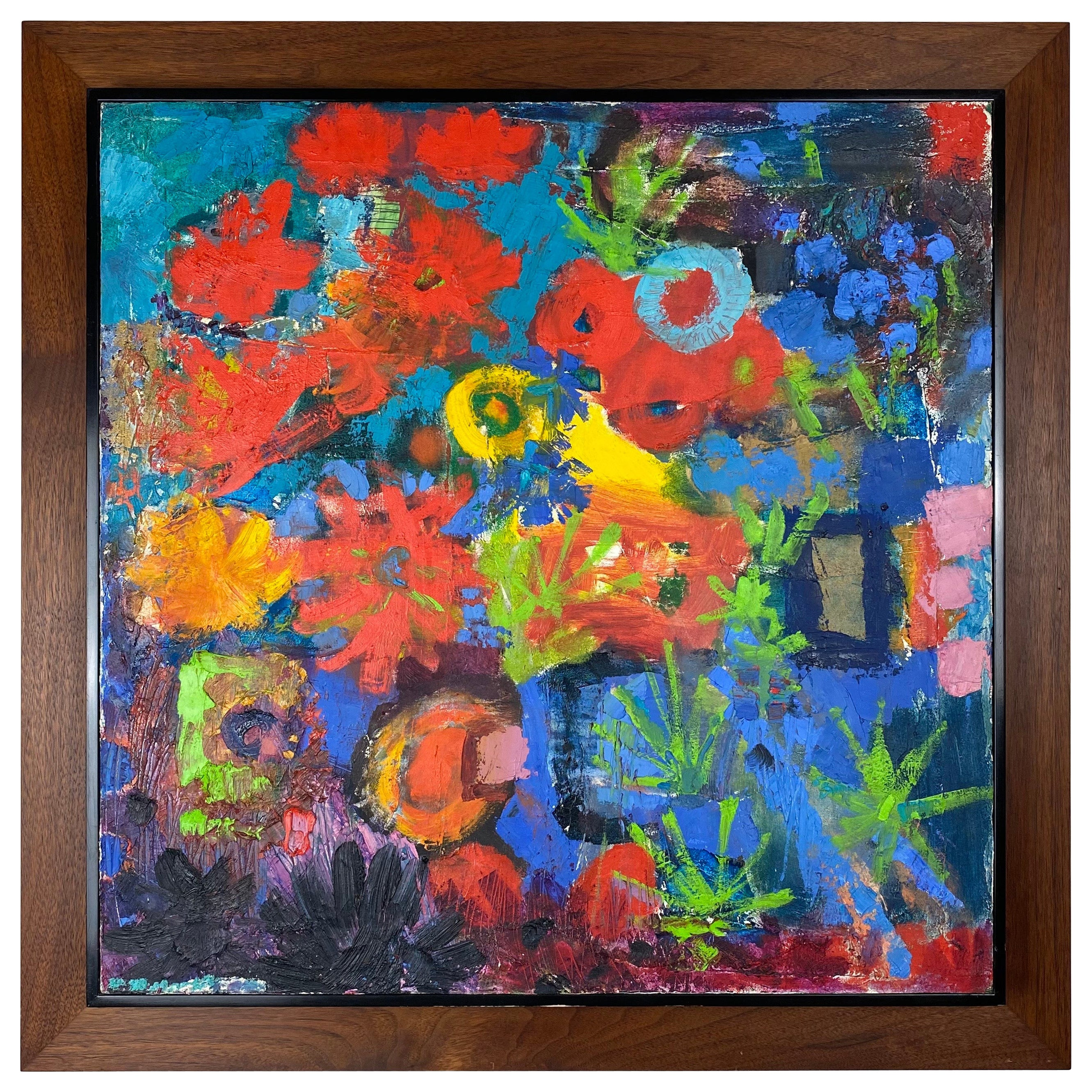 Vintage Modern Abstract Expressionist Floral Still-Life Painting