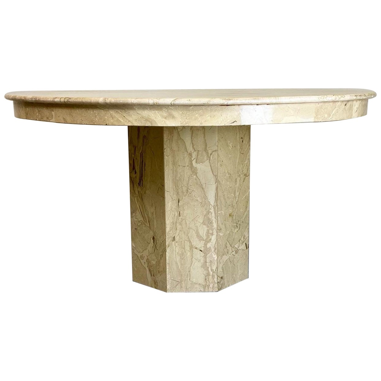 1970s Modern Round Marble Dining Table, Italy