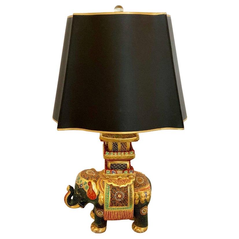 Rare Chinoiserie Vintage Elephant Table Lamp Mid Century