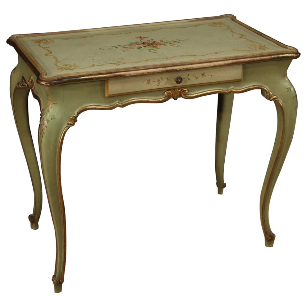 20th Century Lacquered, Gilded and Hand-Painted Wood Venetian Writing Desk, 1960
