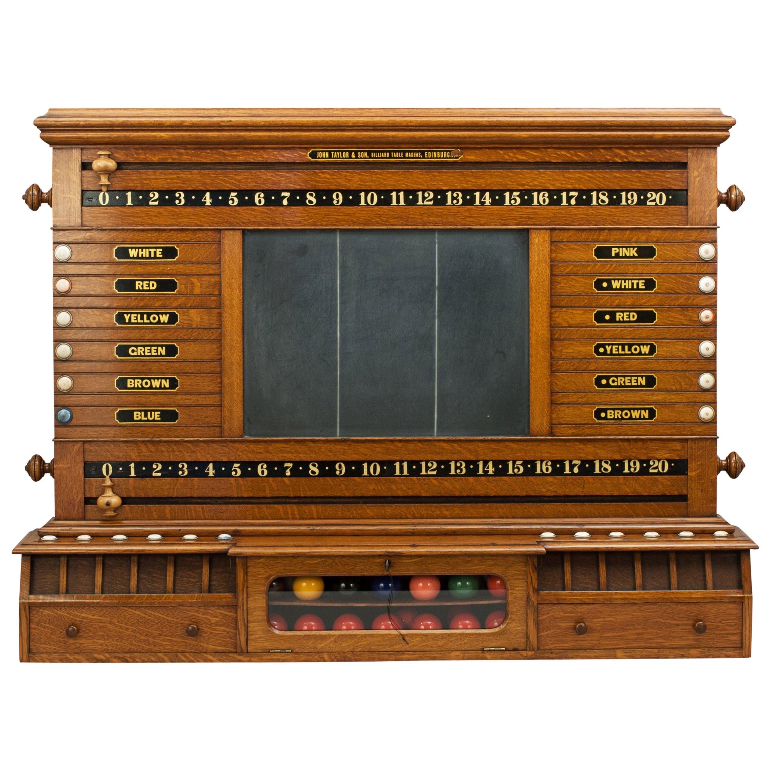 Antique John Taylor & Son Billiard, Snooker and Life Pool Score Board