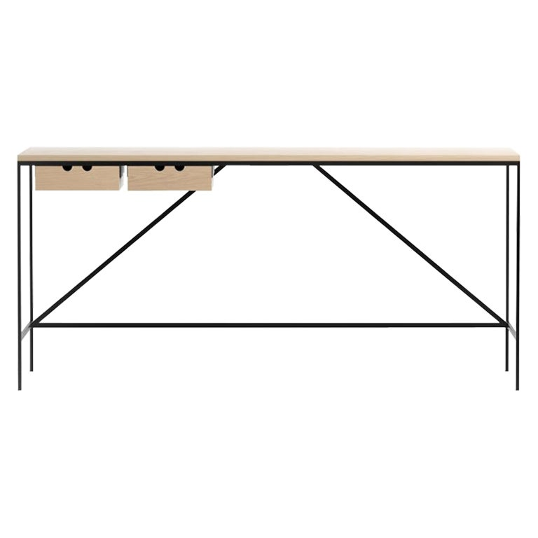 Paul McCobb Cache Console with Two Drawers, Wood and Steel by Karakter