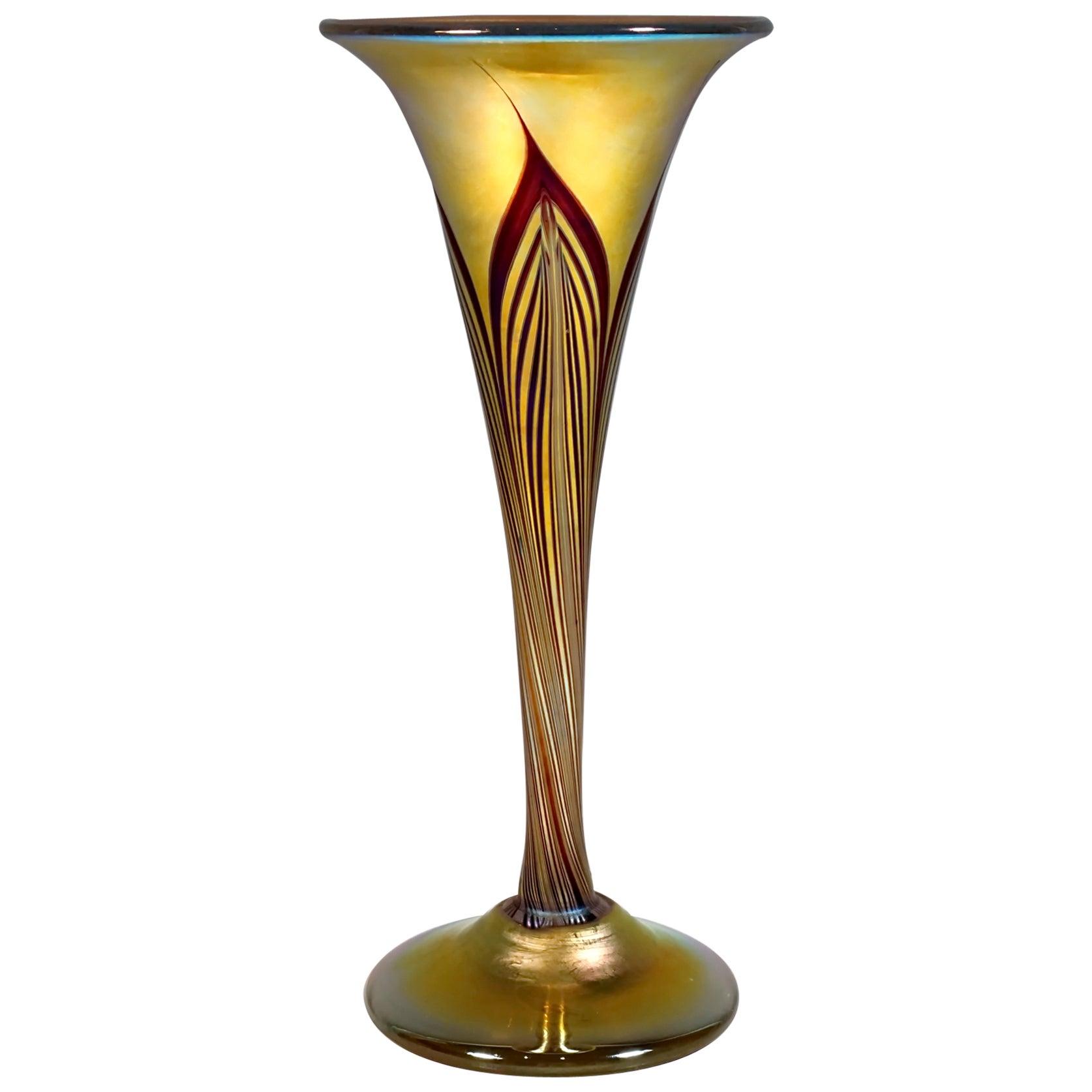 Art Nouveau Gold Favrile Glass Vase, L.C. Tiffany, New York, Around 1896