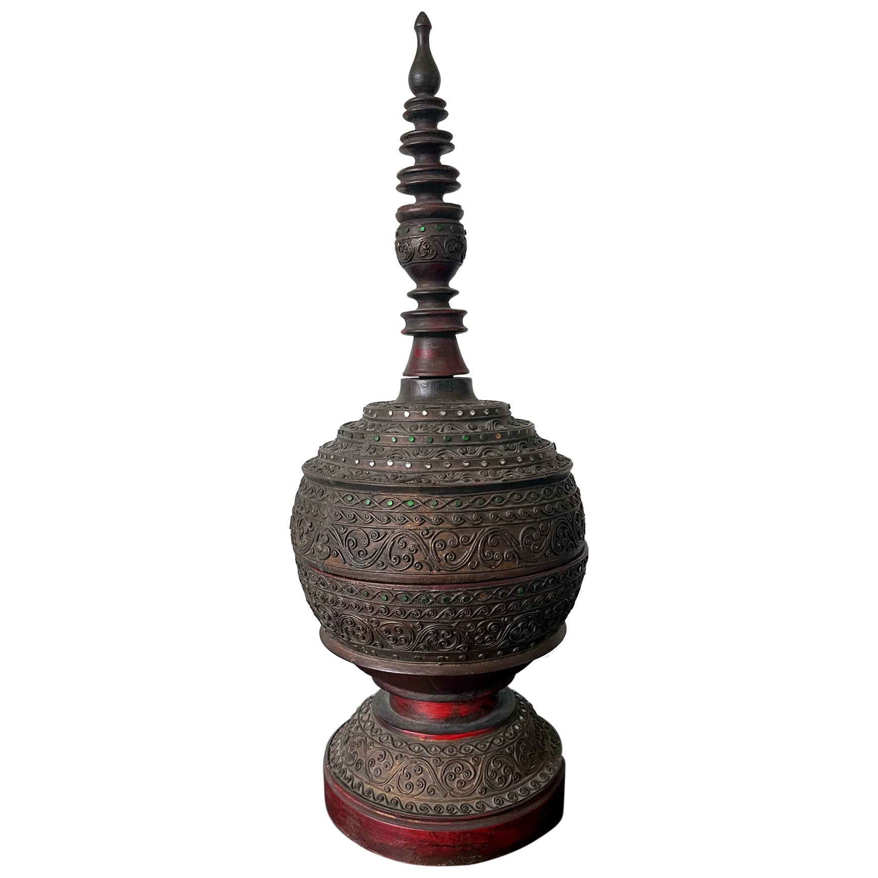 Antique Lacquered Wood Offering Vessel, Thailand