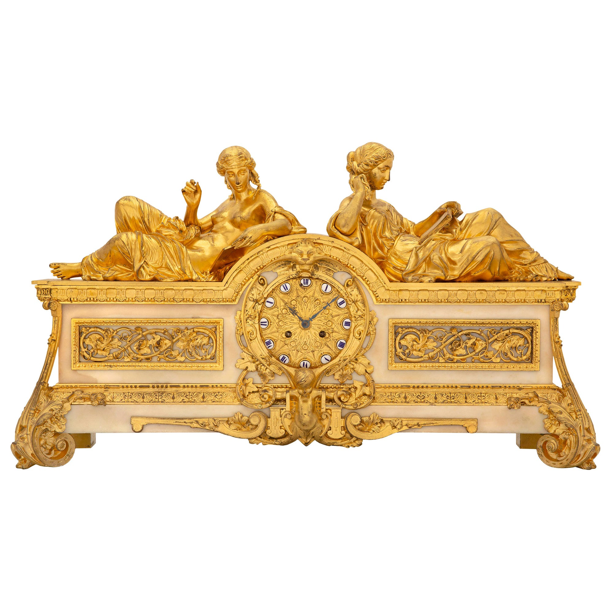 French Early 19th Century Ormolu and White Carrara Marble Clock