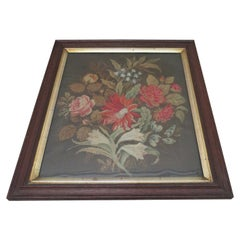 Antique Framed English Needlework Tapestry Panel