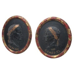 Vintage Pair of Cast Oval Plaques of Roman Emperors