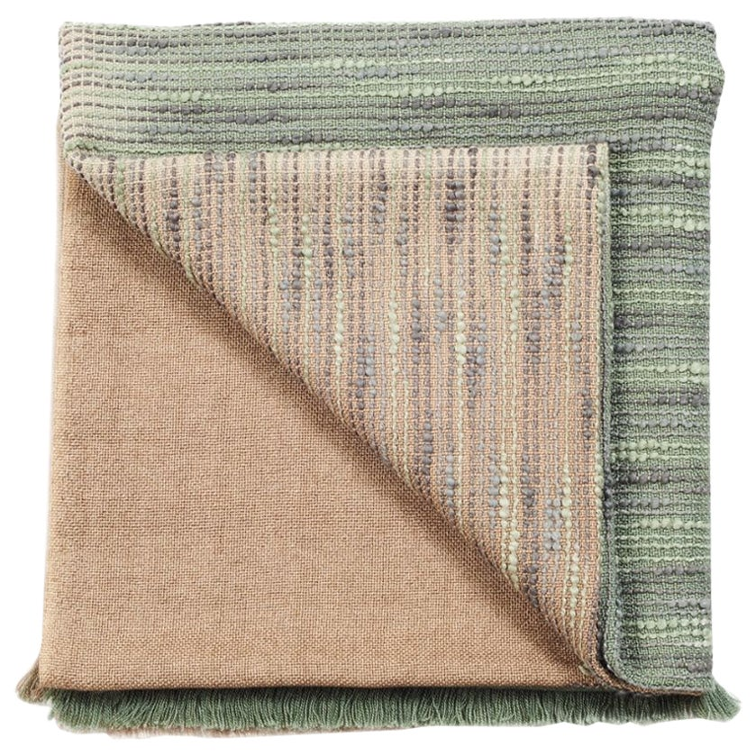 Salvia Handloom & Hand Embroidered Throw / Blanket Ombre Dyed in Merino