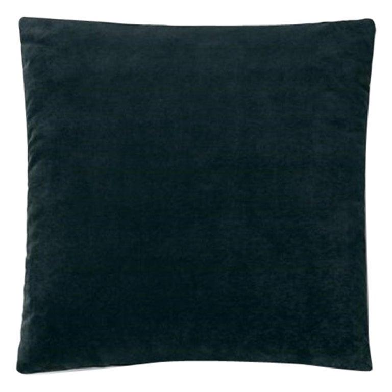 Molteni&C Square Decorative Cushion Petroleum Blue Velvet