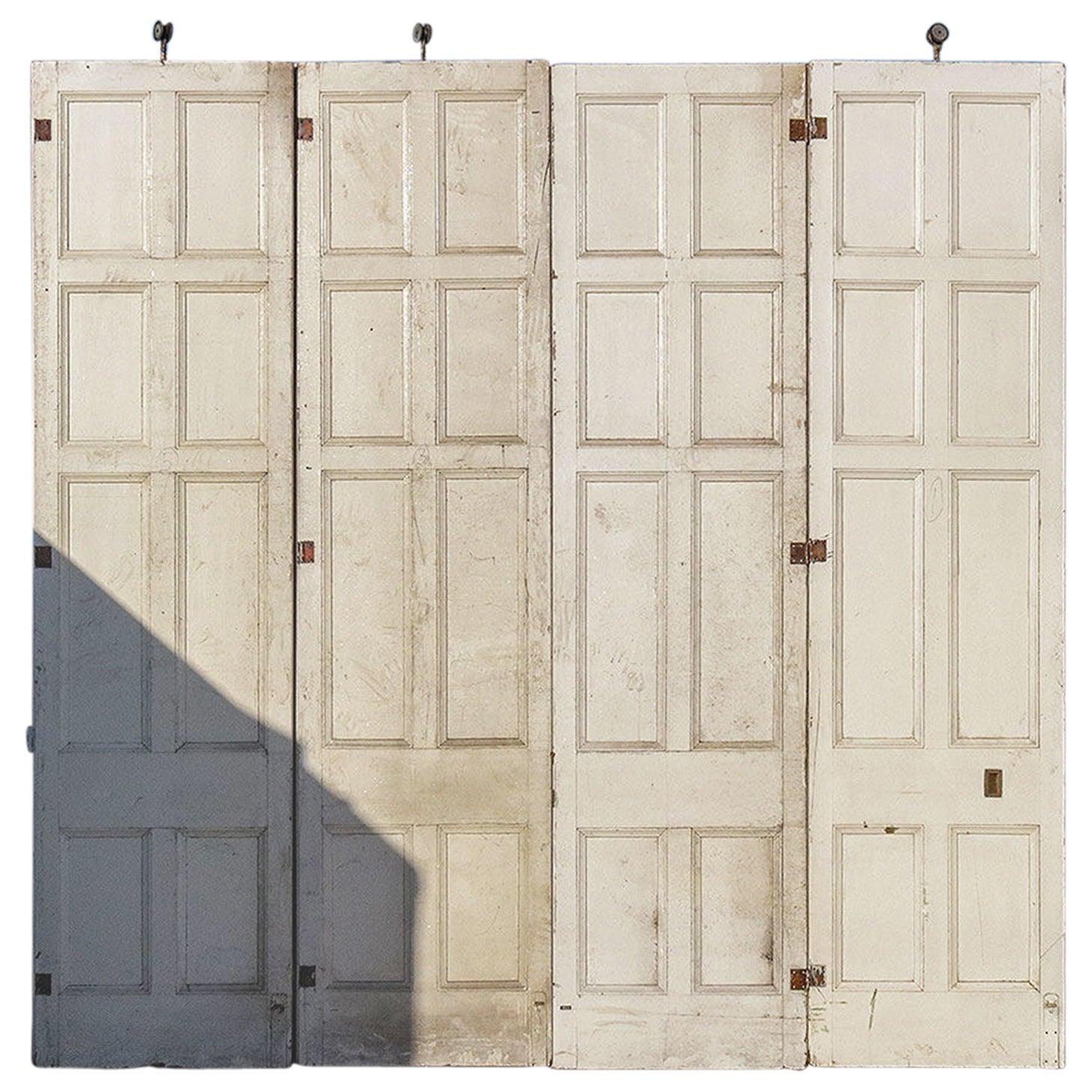 Job Lot of Four Large Sliding Door Panels, 20th Century