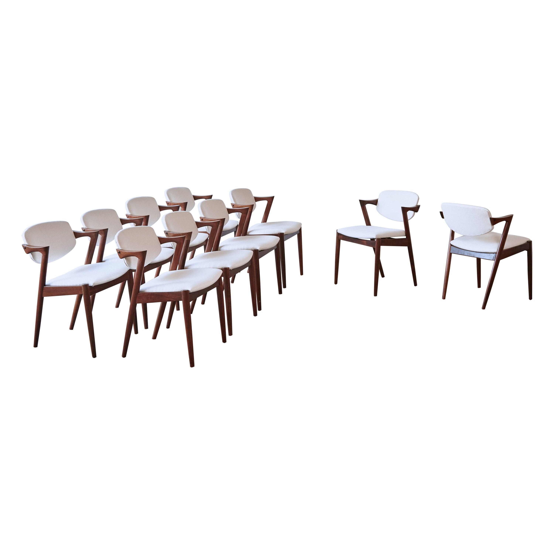 Set of Ten Model 42 Rosewood Dining Chairs by Kai Kristiansen, Denmark, 1960s