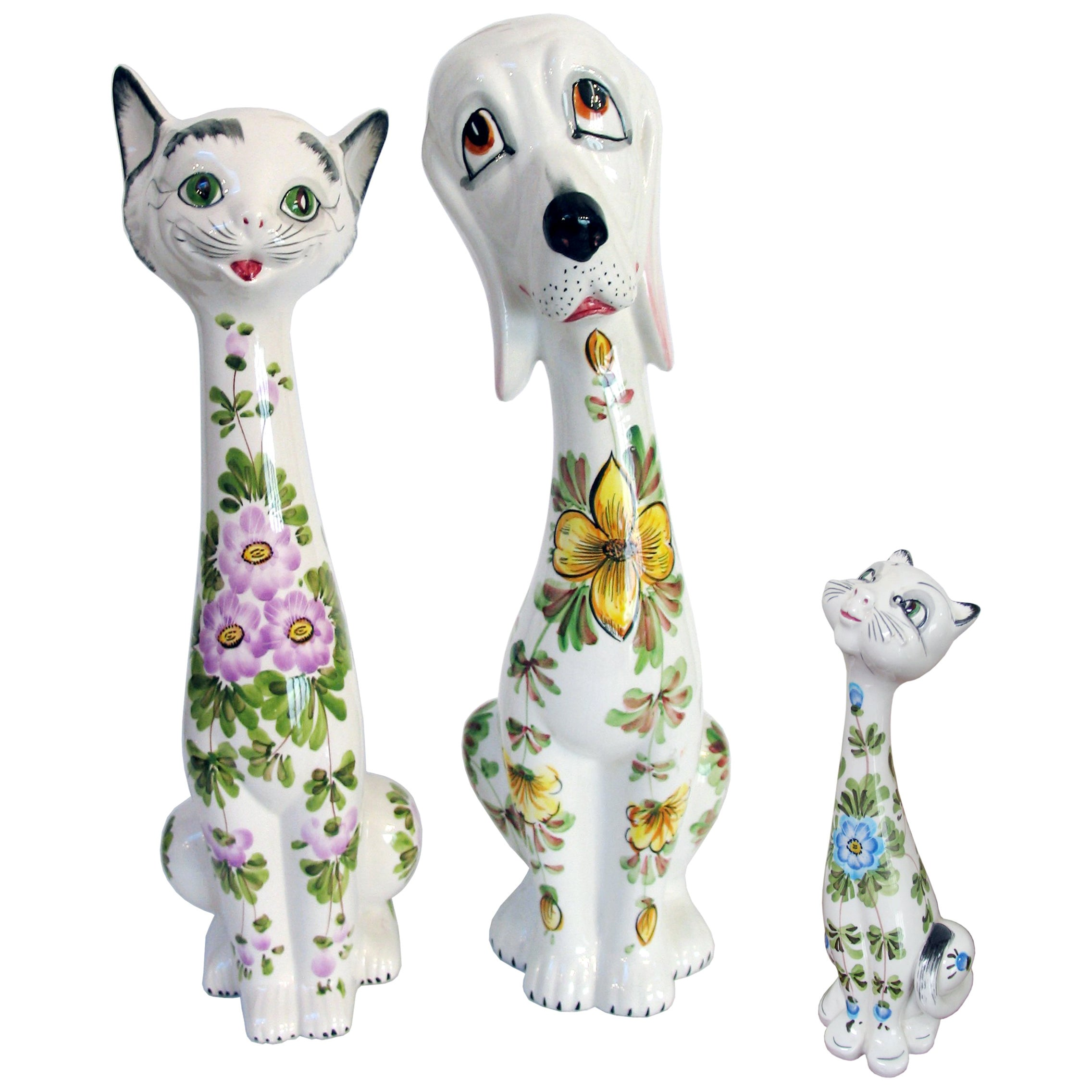Mid-Century Modern Ceramic Cat Figurines and a Dog, Italy, 1970s