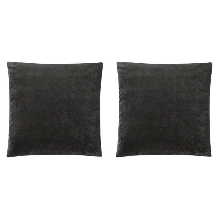 Molteni&C Square Decorative Cushion Pair Dark Grey Velvet