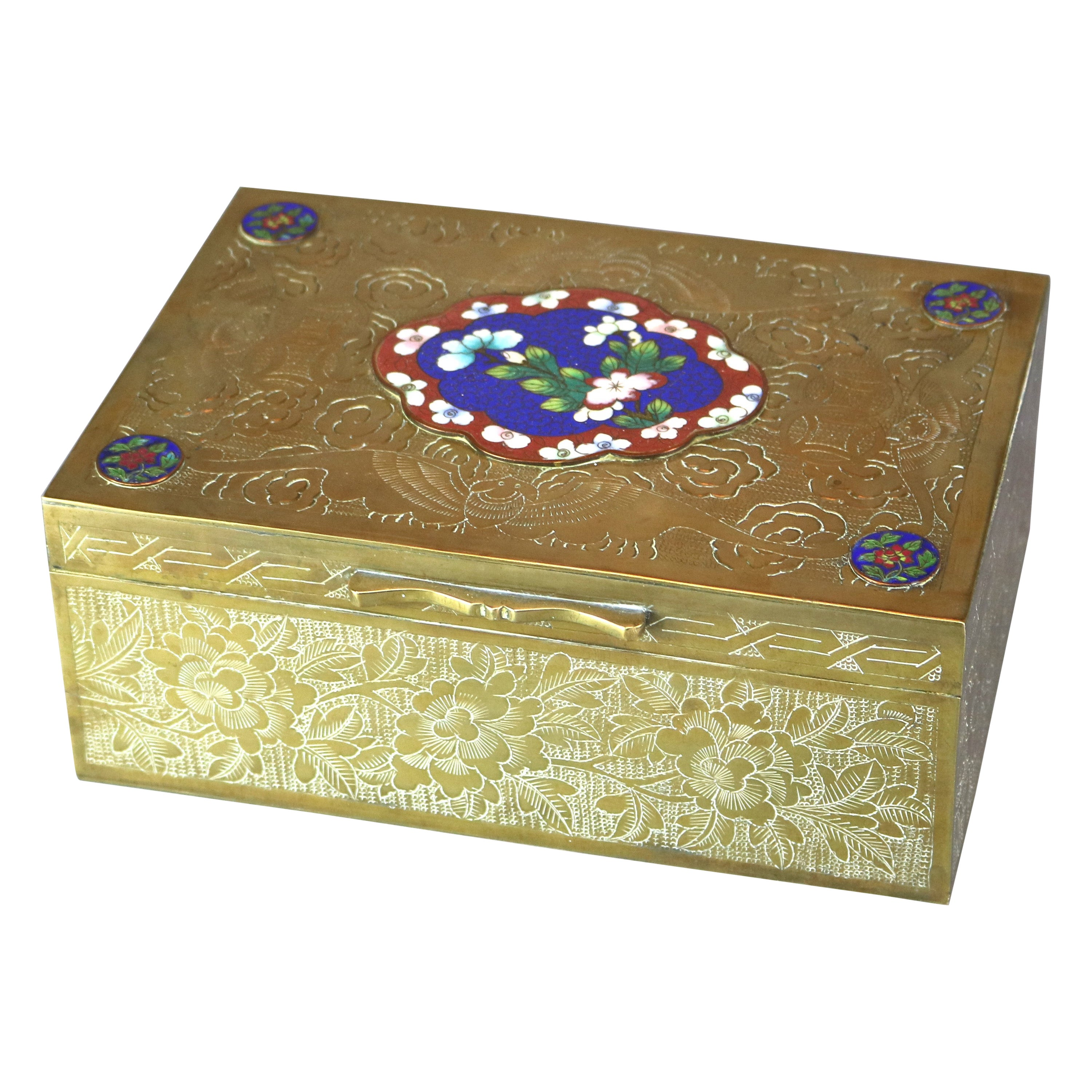 Antique Chinese Bronzed & Brass Box with Enameled Floral Cloisonné Panels 20th C