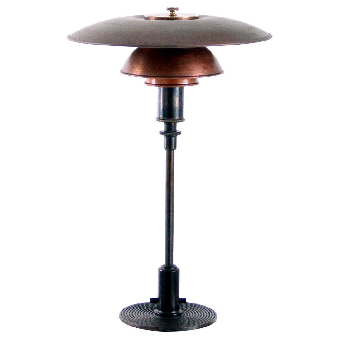 Early Poul Henningsen 3/2 Table Lamp Shades in Copper, 1930s