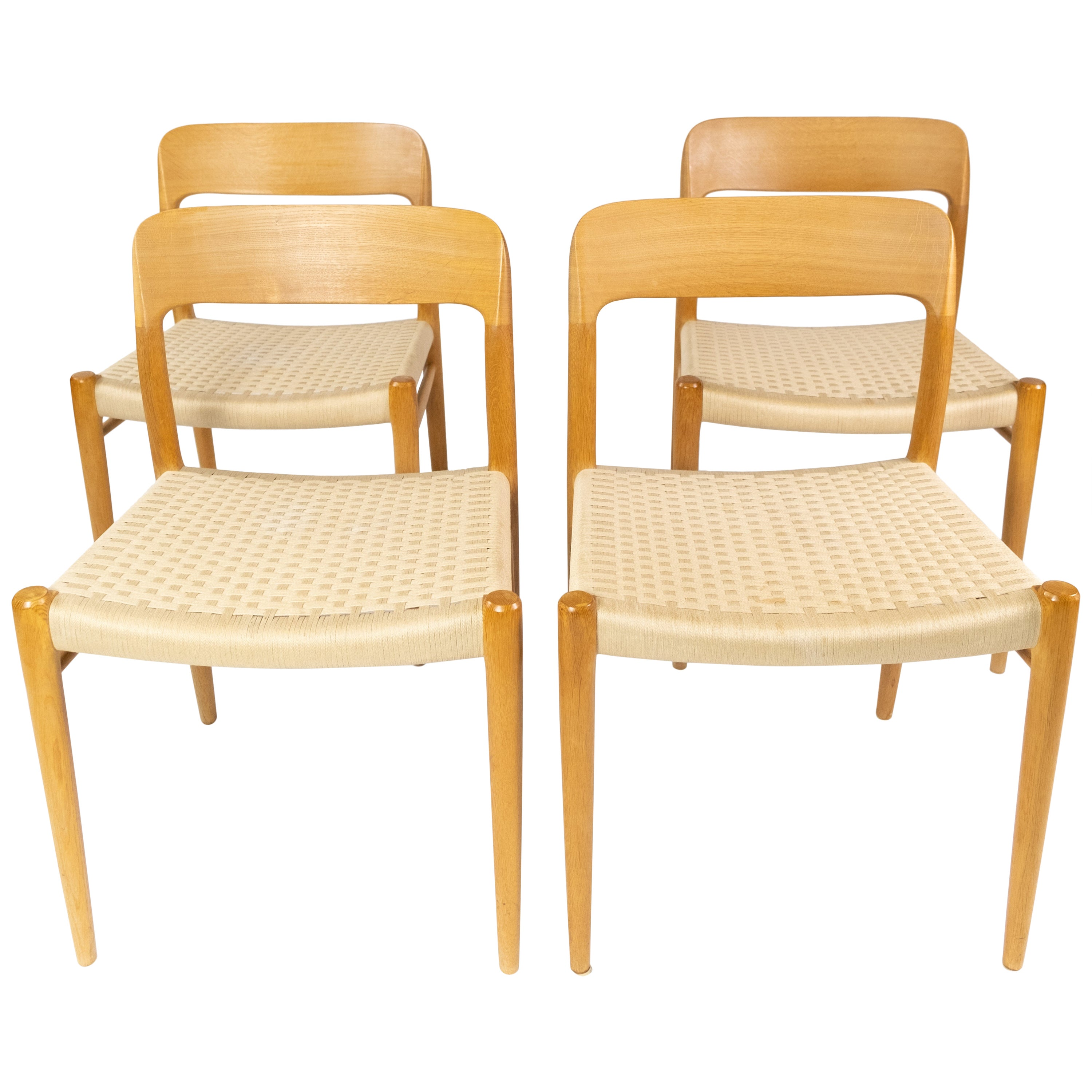 Set of Four Dining Chairs, Model 75, in Oak and Papercord by N.O. Møller