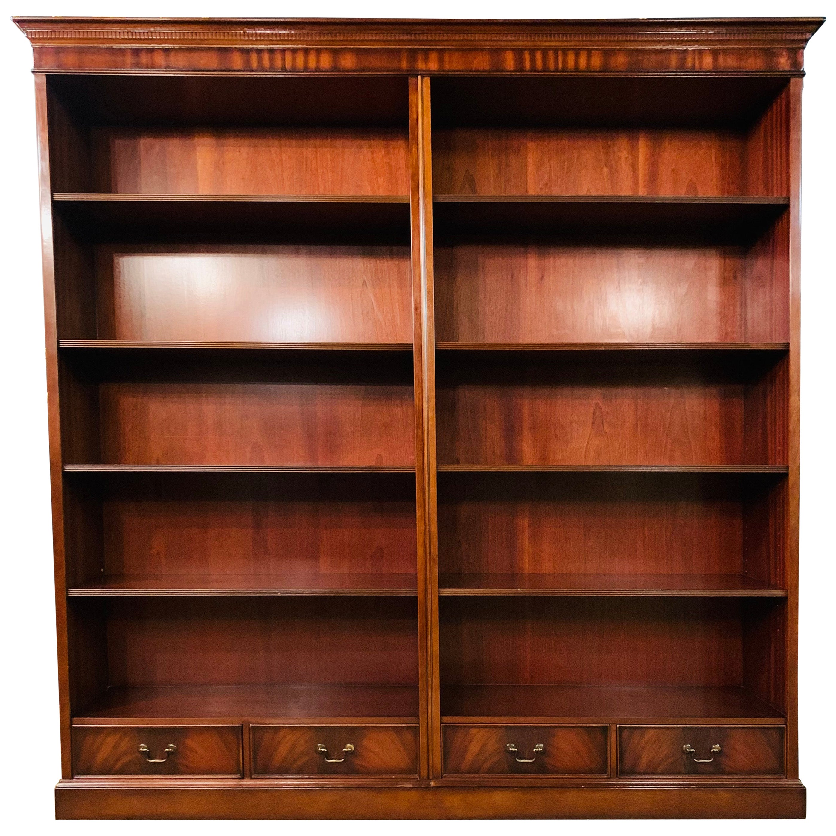Vintage Stained Mahogany Double Bank Open Library Bookcase / Bookshelf