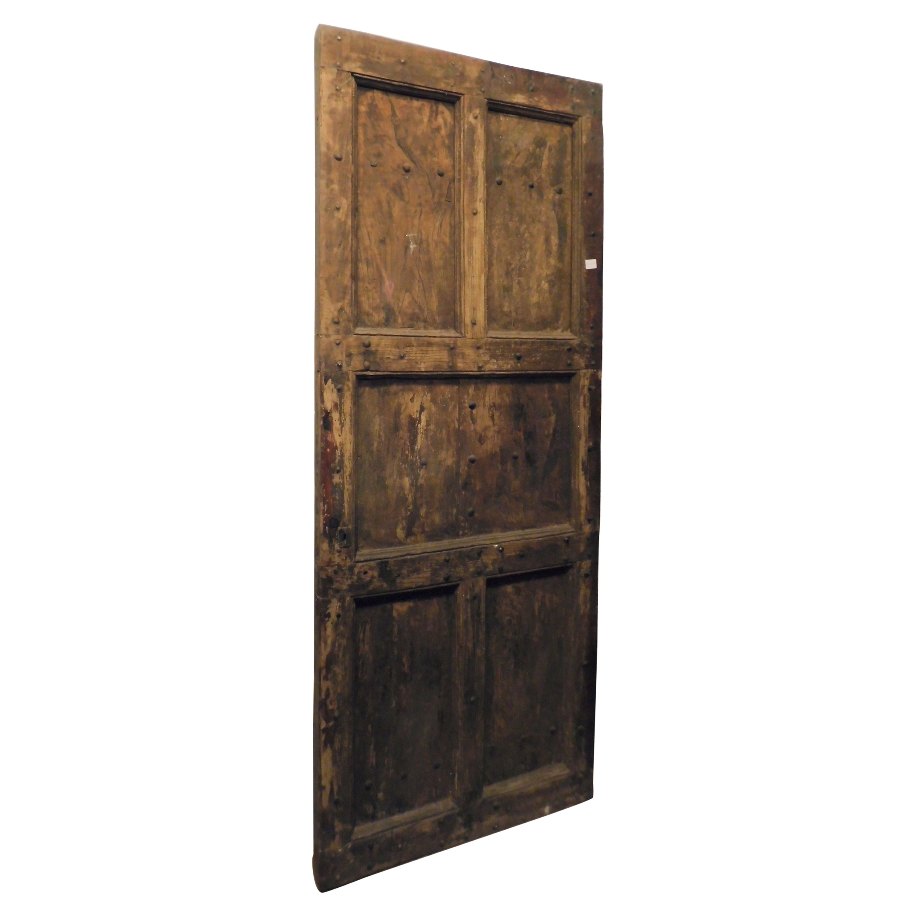 Antique Rustic Chestnut Door, Panels and Nails, 19th Century, Italy
