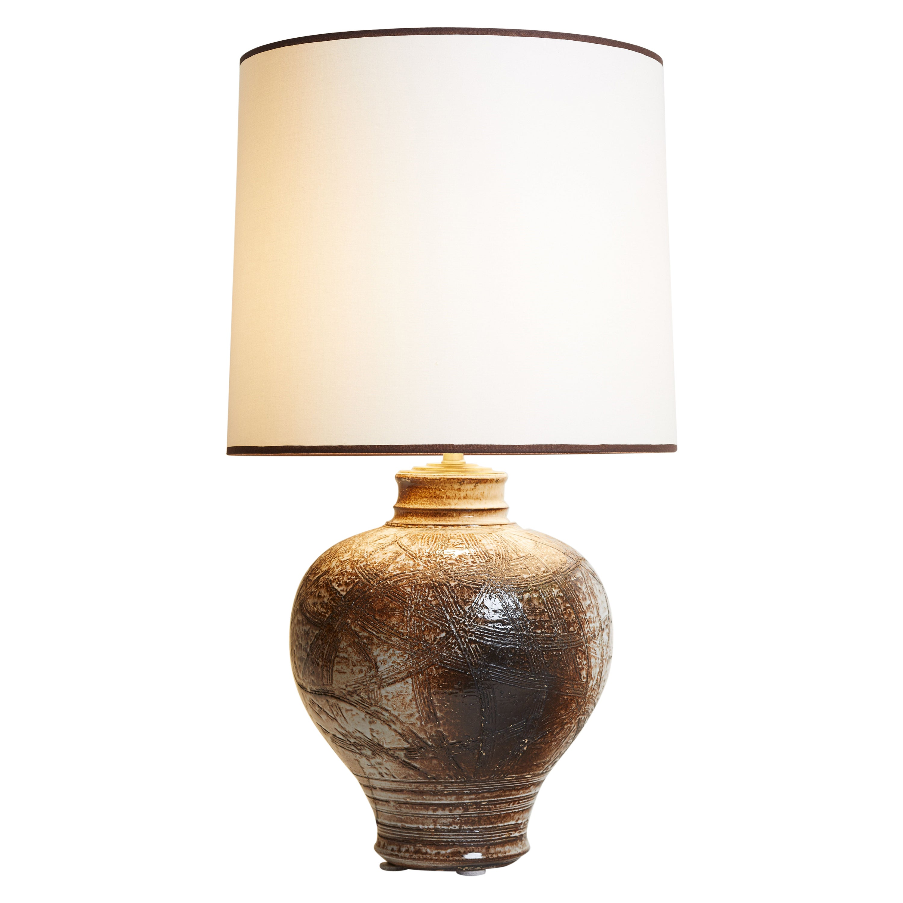 1960s France Brown & Ivory Pottery Table Lamp with Custom White Lampshade