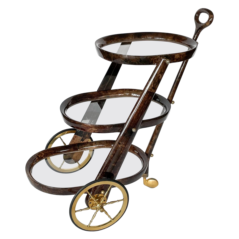 Aldo Tura Goatskin Three Tier Bar Cart Trolley