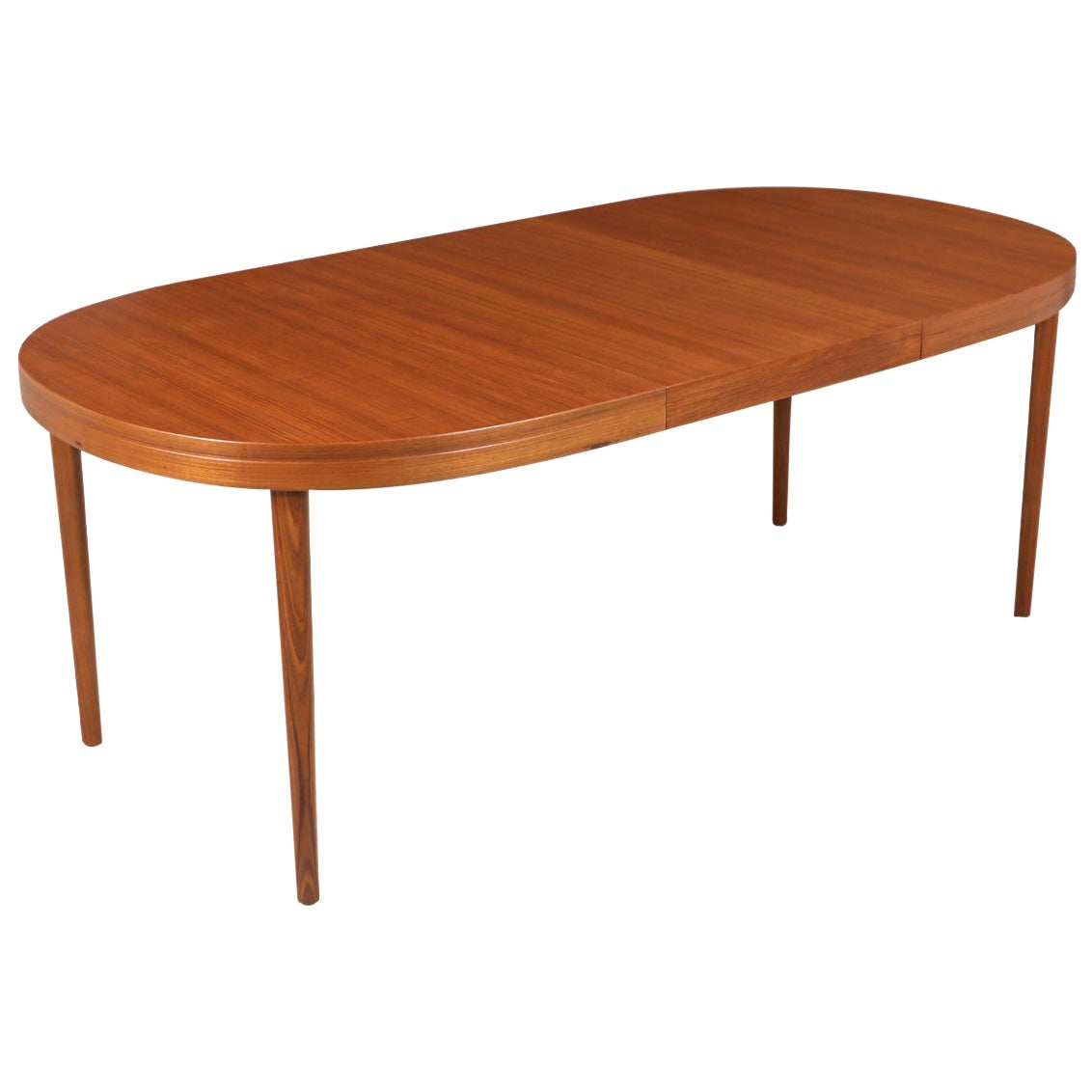 Danish Modern Expanding Oval Teak Dining Table