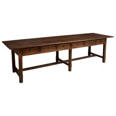 Oak 12-Drawer Refectory Table