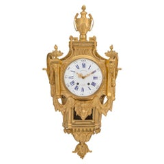 French 19th Century Louis XVI Style Ormolu Cartel Clock, by L. Marchand