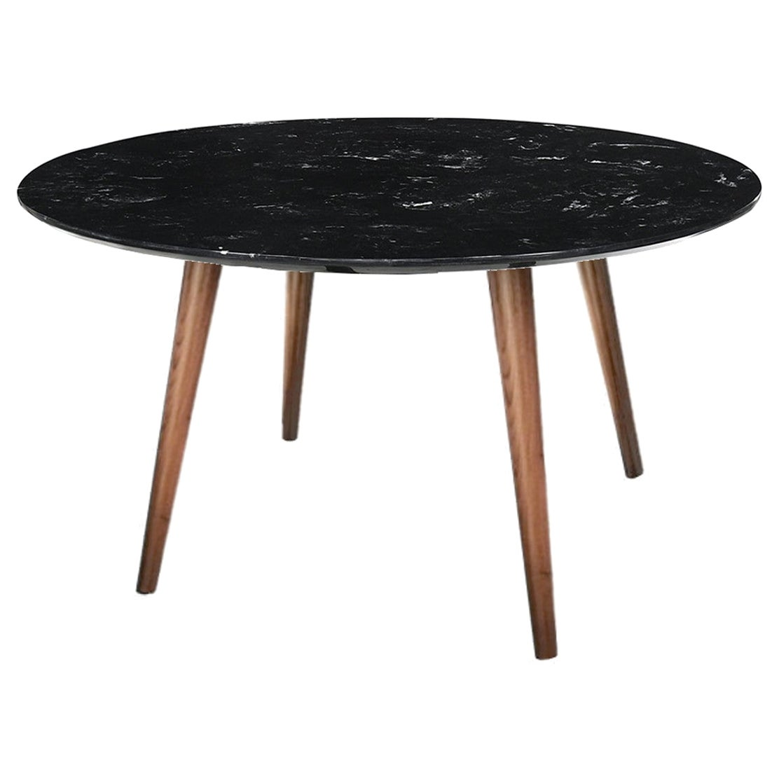 Modern Black Marble Dining Table with Walnut Base