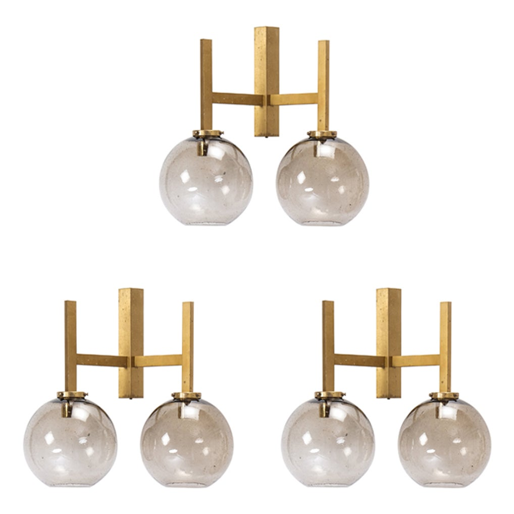 Set of 3 Large Brass Wall Lamps by Holger Johansson, Sweden, 1960s