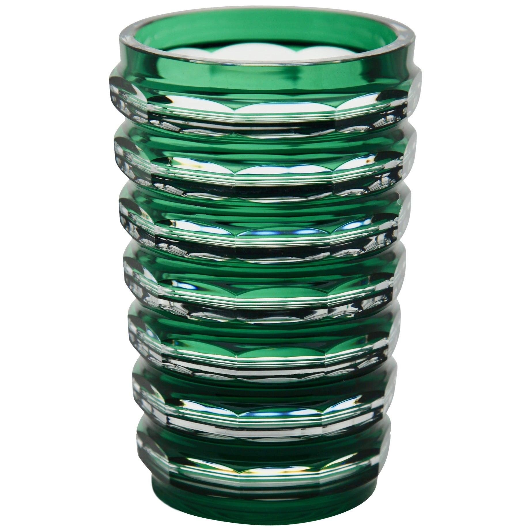 Val Saint Lambert Crystal Vase Cut-to-Clear, 1950s