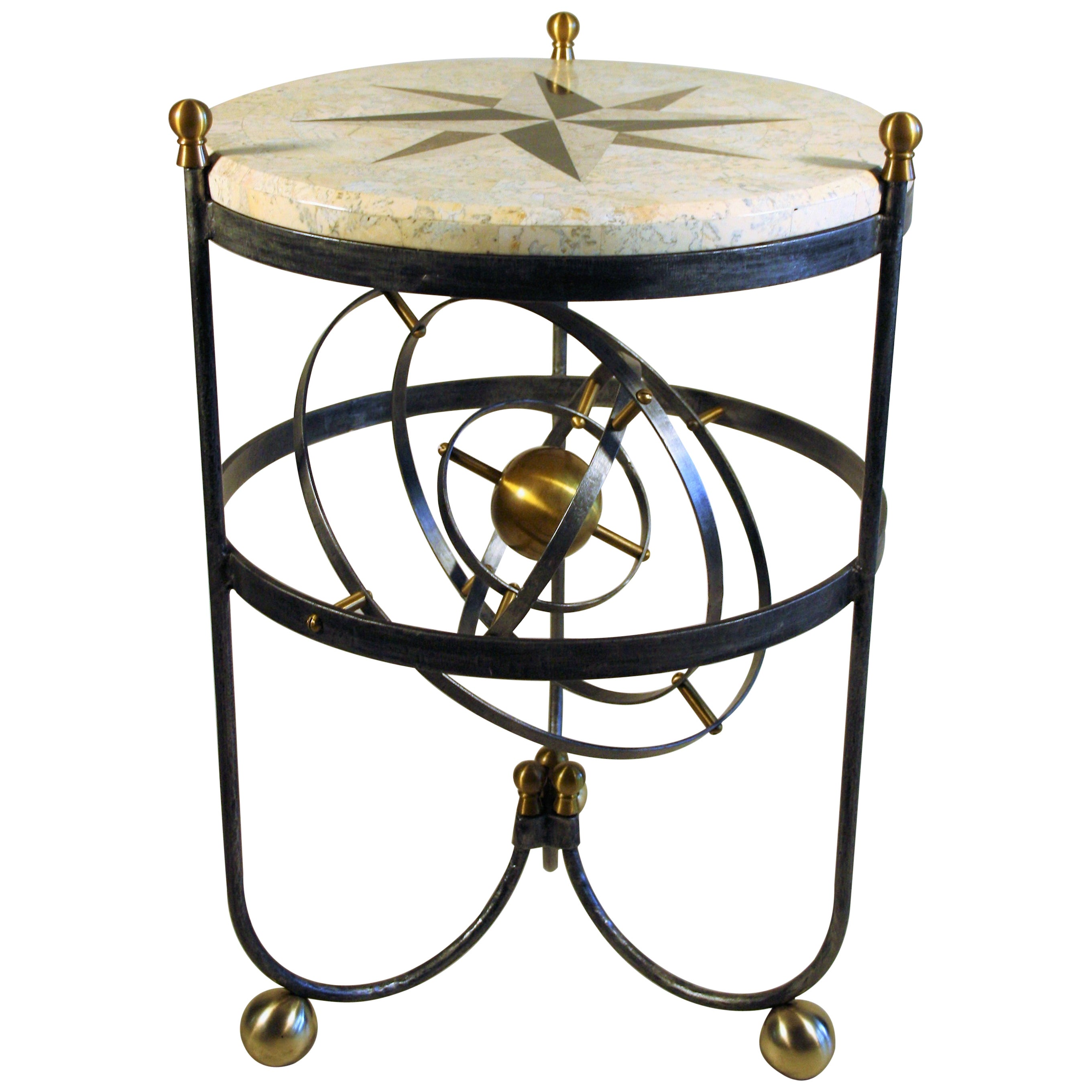 French Hollywood Regency Iron and Brass Table