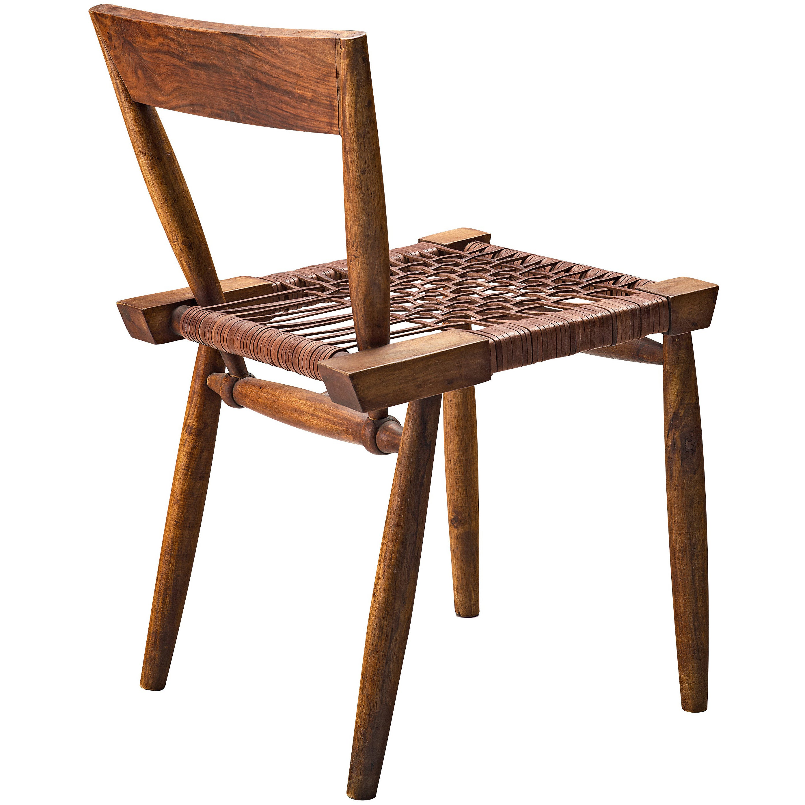 Sculptural Side Chair with Woven Leather Seat