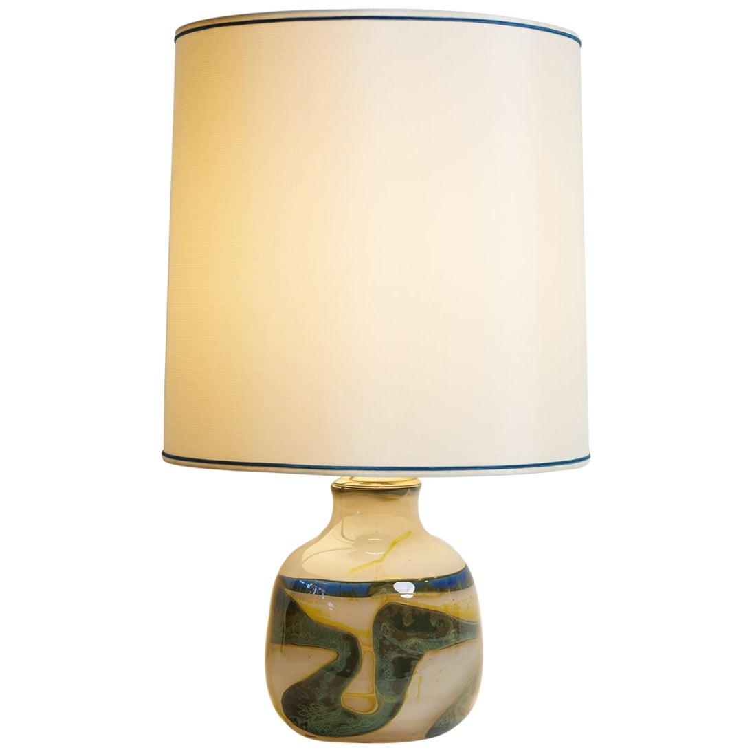 Italian 1970s White Murano Glass Lamp with Abstract Design & Custom Lampshade