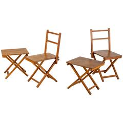 Set of Two Wooden Folding Chairs and Two Stools, Dutch, 1950s