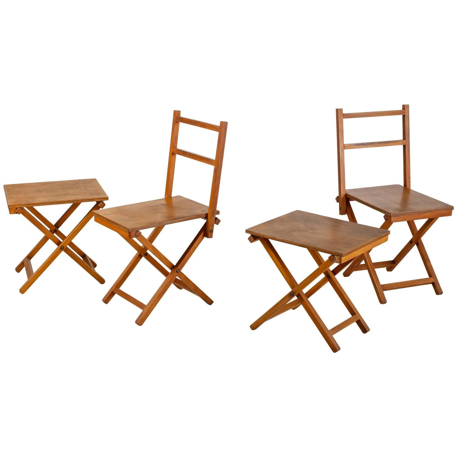 Set of Two Wooden Folding Chairs and Two Stools Dutch 1950s For Sale at 1st