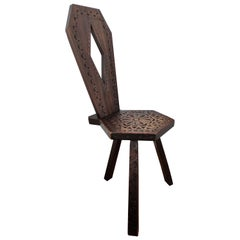 Antique Italian Carved Wood Round Tripod Chair