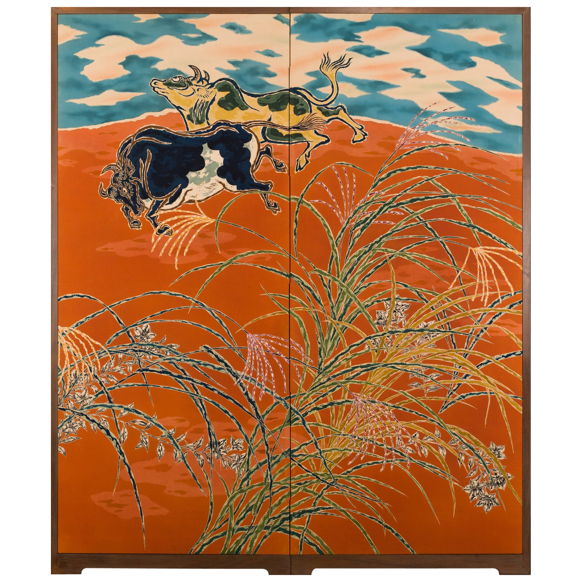 Japanese Two Panel Screen Romping Steers in a Pasture of Wild Grasses