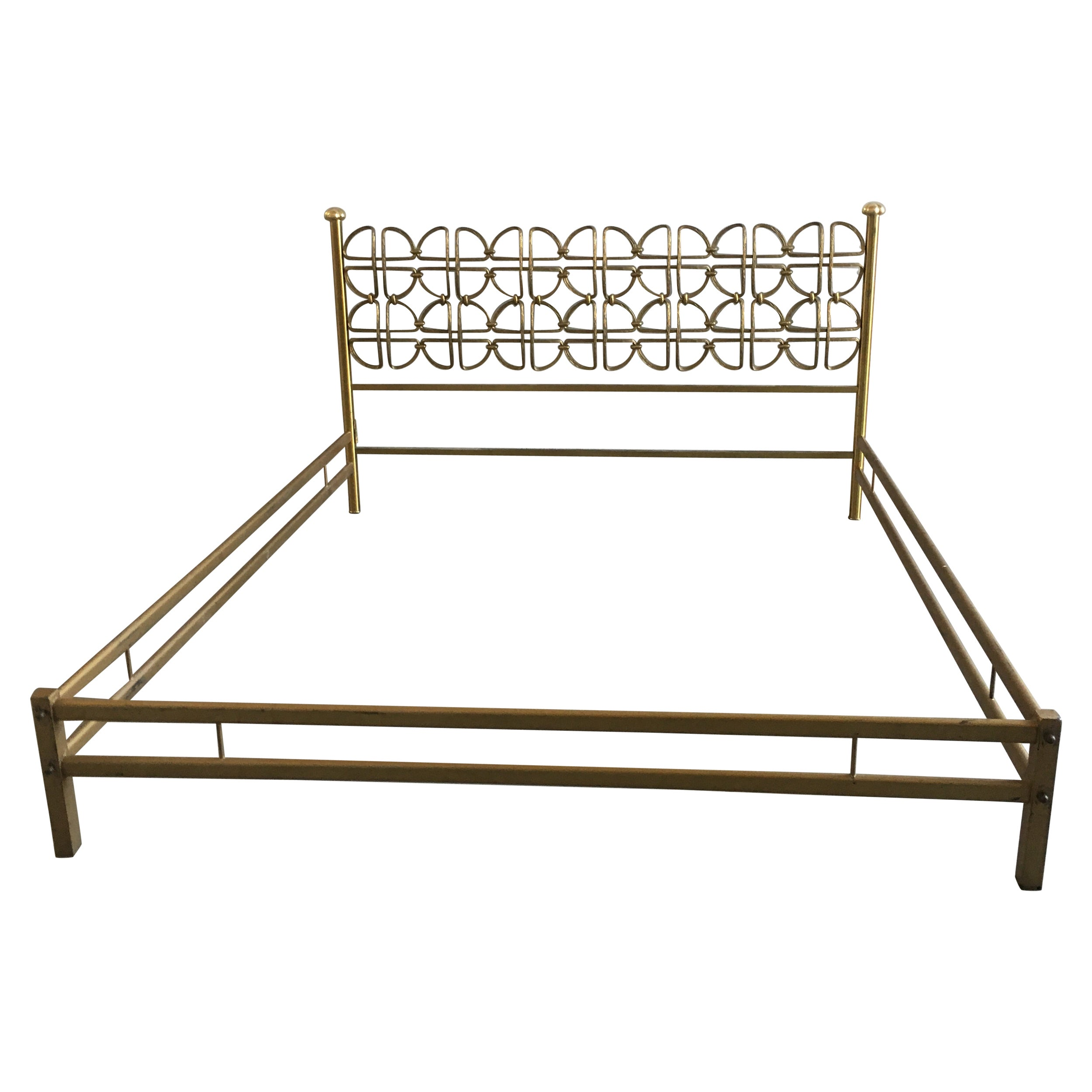 Mid-Century Modern Italian Solid Brass Queen Size Bed Signed A. Cellini, 1970s