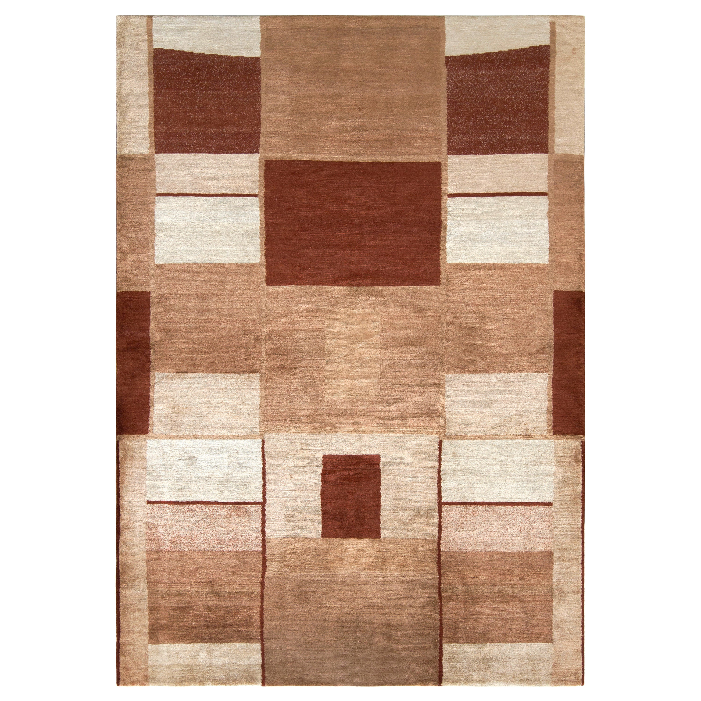 Rug & Kilim's Modern Cubist Style Rug in Beige Brown Geometric Pattern