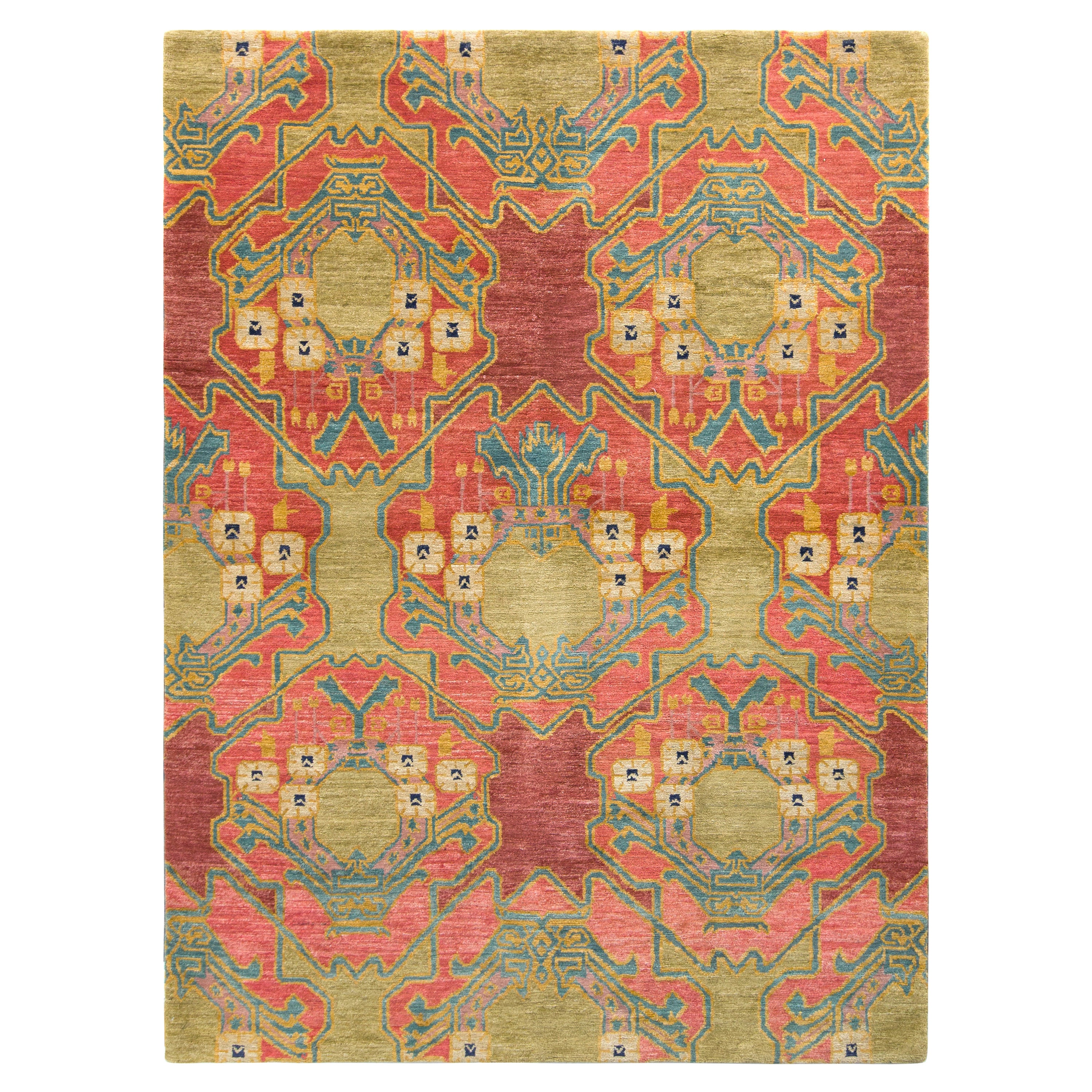 Rug & Kilim's Ersari Style Rug in Red and Green Geometric Pattern
