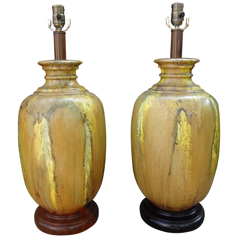 Pair of Midcentury Glazed Ceramic Lamps