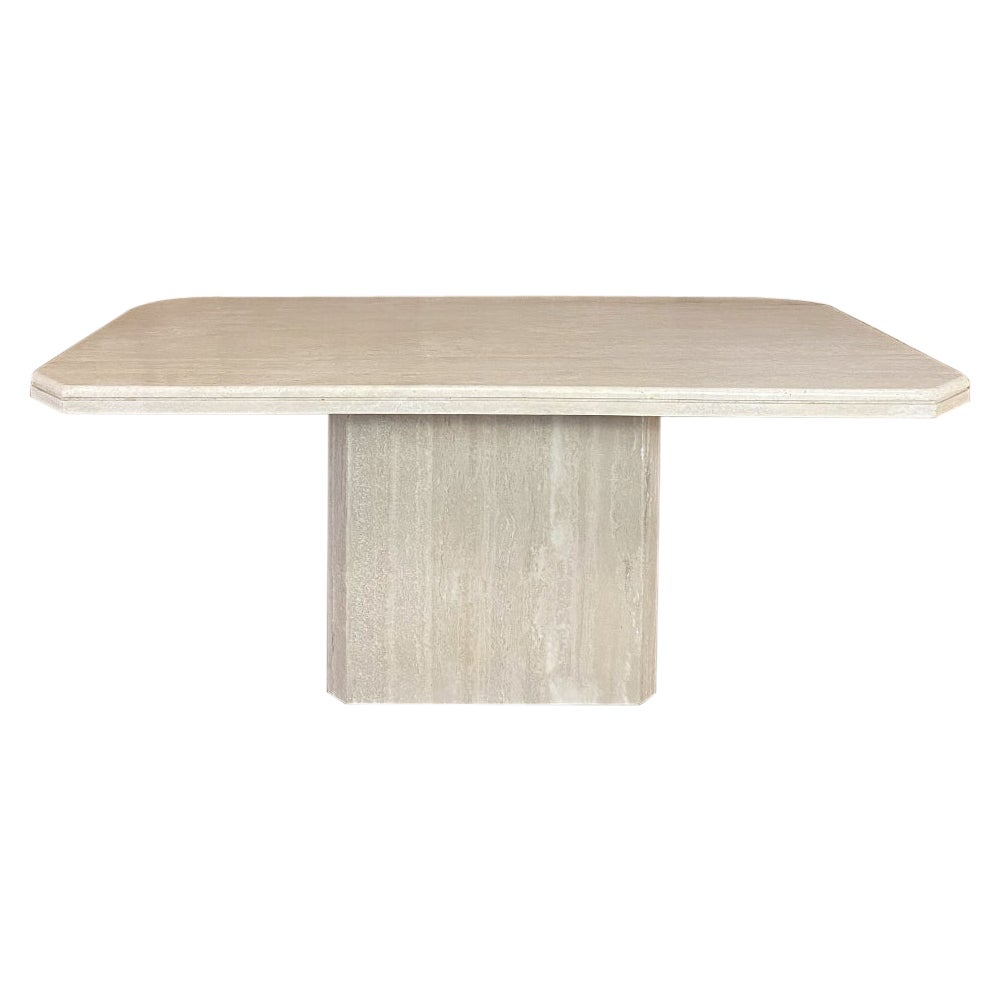 Mid-Century Modern French Travertine Dining Table