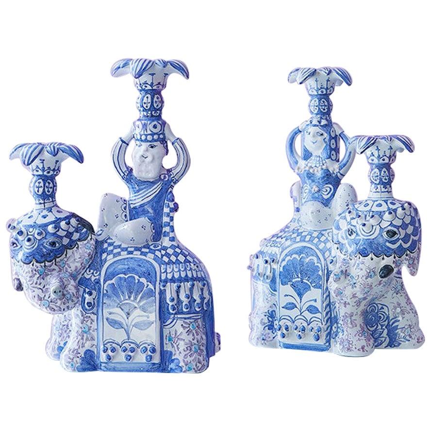 Vintage Unique Figurative Bjørn Wiinblad Ceramic Candleholders, Denmark 1977
