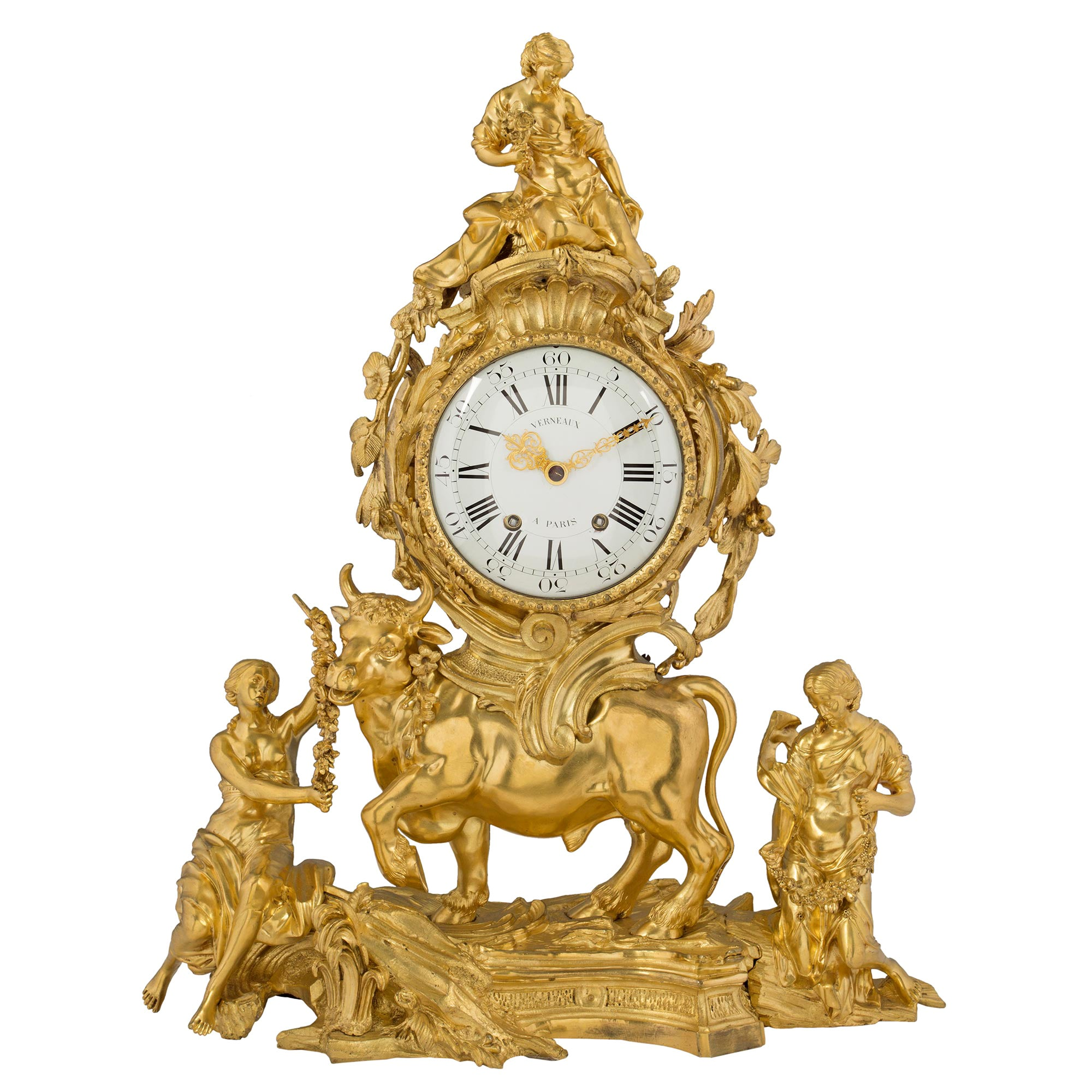 French 18th Century Louis XV Period Ormolu Clock
